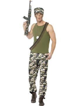 Mens Army Costume For Sale - Includes Top, Trousers & Hat | The Costume Corner Fancy Dress Super Store