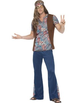 Mens Hippy Costume - Orion For Sale - Contains Top, Trousers, Headscarf & Medallion | The Costume Corner Fancy Dress Super Store
