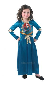 Merida For Sale - Become Disney's Brave Princess in this floor length blue dress with a gold bow and trim! | The Costume Corner Fancy Dress Super Store