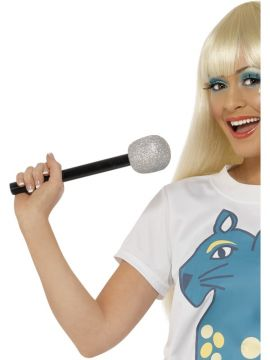 Microphone For Sale - Microphone, Silver, Glitter | The Costume Corner Fancy Dress Super Store
