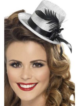 Mini Tophat - Silver For Sale - Mini Tophat, Silver, with Black Ribbon and Feather | The Costume Corner Fancy Dress Super Store