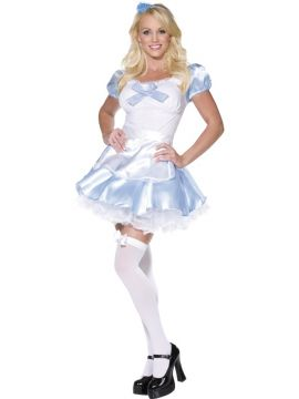 Miss Looking Glass - Alice in Wonderland For Sale - Fever Miss Looking Glass Costume, Blue and White, With Dress and Apron, Silk Look | The Costume Corner Fancy Dress Super Store