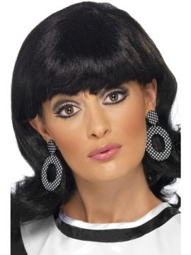 Mod earrings For Sale - Mod Clip On Earrings in black and white. | The Costume Corner Fancy Dress Super Store