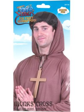 Monks Cross For Sale - Golden coloured cross with black cord. | The Costume Corner Fancy Dress Super Store