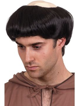Monks Wig For Sale - Monks Wig, Black, Short, with Rubber Top | The Costume Corner Fancy Dress Super Store