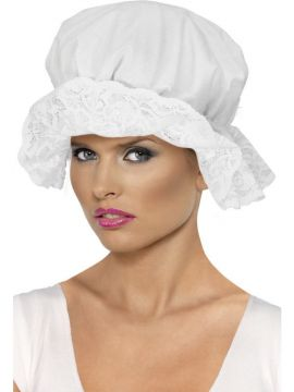 Mop Cap For Sale - Mop Cap, White, with Lace | The Costume Corner Fancy Dress Super Store