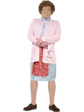Mrs Brown Mens Costume For Sale - Includes Padded Dress & Cardigan, Wig, Glasses, Handkerchief and Mole | The Costume Corner Fancy Dress Super Store