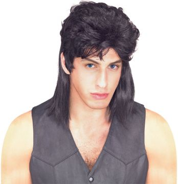 Mullet Wig -  Black For Sale - The mullet; epic hairstyle of choice for tele-evangelists, chronic offenders and Eastern block football fans. It reached the peak of its popularity in the 1980s when even Sir P... | The Costume Corner Fancy Dress Super Store