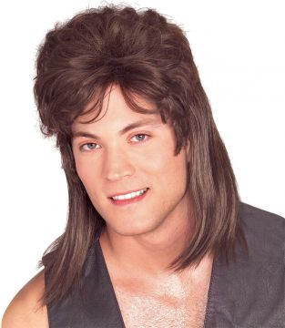 Mullet - Brown For Sale - The mullet; epic hairstyle of choice for tele-evangelists, chronic offenders and Eastern block football fans. It reached the peak of its popularity in the 1980s when even Sir P... | The Costume Corner Fancy Dress Super Store