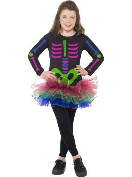 Neon Skeleton Girl Costume For Sale - Neon Skeleton Girl Costume, Long Sleeve Tutu Dress, in Display Bag | The Costume Corner Fancy Dress Super Store