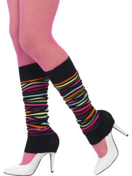 Neon Striped Legwarmers For Sale - Legwarmers, Neon with Black | The Costume Corner Fancy Dress Super Store