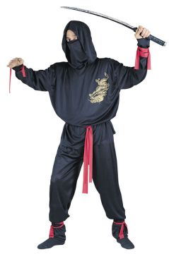 Ninja Fighter For Sale - Hooded shirt with dragon print, face mask, belt, limb ties & trousers | The Costume Corner Fancy Dress Super Store