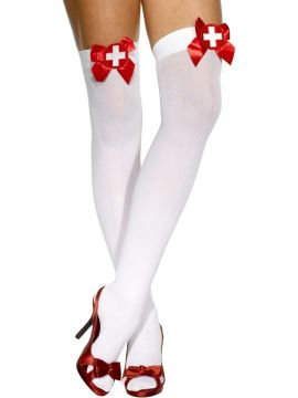 Nurse Stockings For Sale - Nurse Stockings in white with red bows. | The Costume Corner Fancy Dress Super Store