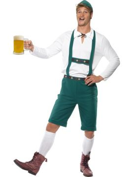 Oktoberfest Lederhosen For Sale - Oktoberfest Costume, Green, Lederhosen Shorts with Braces, Top and Hat | The Costume Corner Fancy Dress Super Store