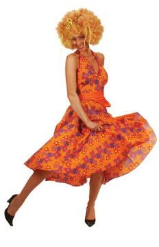 Halterneck dress For Sale - Orange 1970s Halterneck dress (Hire costume) | The Costume Corner