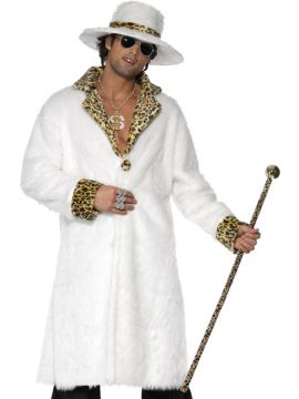 Pimp For Sale - Pimp Costume, White and Leopard Skin, Faux Fur, Coat, Hat, and Trousers | The Costume Corner Fancy Dress Super Store