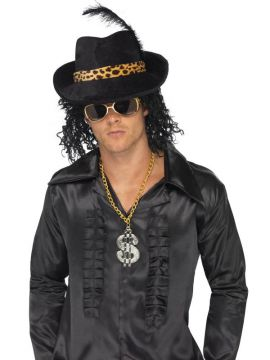 Pimp Hat For Sale - Black Pimp Hat with Feather and Animal Print Band | The Costume Corner Fancy Dress Super Store