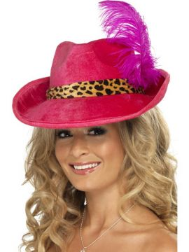 Pimp Hat For Sale - Pink Pimp Hat with Feather and Animal Print Band | The Costume Corner Fancy Dress Super Store