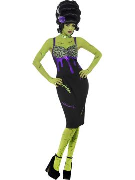 Pin Up Frankie Costume For Sale - Pin Up Frankie Costume, Black, with Dress, Flower and Choker, In Display Bag | The Costume Corner Fancy Dress Super Store