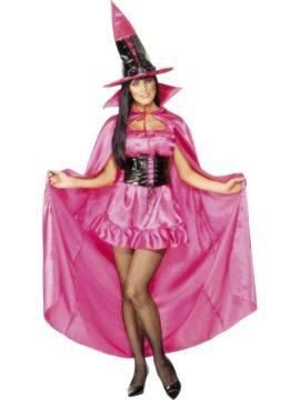 Pink Cape For Sale - This long Pink Cape matches our Pink Sexy Witch perfectly! Who says being a witch means you can be fabulous too? | The Costume Corner Fancy Dress Super Store