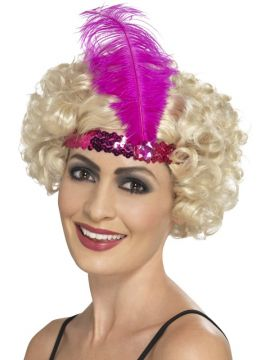 Pink Flapper Headband For Sale - Flapper Headband, Pink, with Feather | The Costume Corner Fancy Dress Super Store