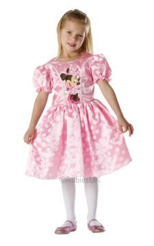 Pink Minnie Mouse For Sale - Pink, silk-like, finished with lacy detail and fit for any mini princess, this elegant Minnie Mouse party dress is the stuff of fairy tales. You'll look as cute as she does - t... | The Costume Corner Fancy Dress Super Store