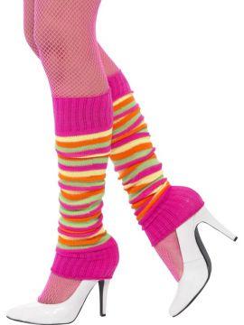 Pink Neon Striped Leg Warmers For Sale - Legwarmers Pink Neon | The Costume Corner Fancy Dress Super Store