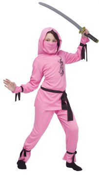 Pink Ninja For Sale - Pink hooded top, veil, belt, trousers & ankle/wrist ties | The Costume Corner Fancy Dress Super Store