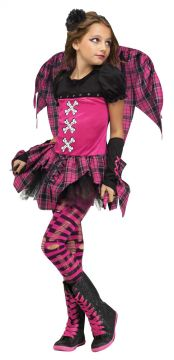 Pink Punky Fairy For Sale - Dress with tutu, wings, footless tights & sleevelets | The Costume Corner Fancy Dress Super Store