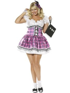 Pink School Girl For Sale - Schoolgirl 4 Piece, Dress, Headpiece, Corset With Overskirt, Socks | The Costume Corner Fancy Dress Super Store