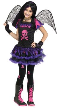 Pink Skull Fairy For Sale - Dress with tutu, wings & matching gloves | The Costume Corner Fancy Dress Super Store