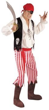 Pirate For Sale - Includes: Striped trousers; Vest and bandana. One size fits most. | The Costume Corner Fancy Dress Super Store