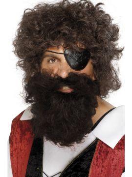 Pirate Beard - Brown For Sale - Deluxe nylon pirate beard in brown.   The Costume Corner Fancy Dress Super Store