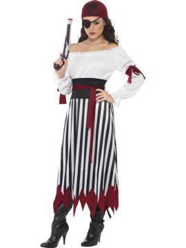 Pirate Lady For Sale - Pirate Lady Costume, Dress with Arm Ties, Belt and Headpiece | The Costume Corner Fancy Dress Super Store