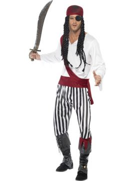 Pirate Man Costume For Sale - Pirate Man Costume, with Shirt, Trousers, Headpiece and Belt, in Display Bag | The Costume Corner Fancy Dress Super Store