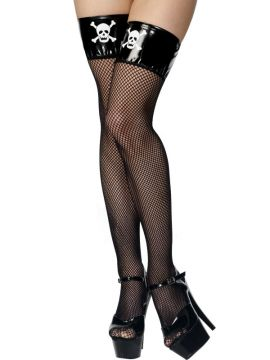 Pirate Stockings For Sale - Thigh High Stockings, Black, Fishnet With Pvc Tops With Skull and Crossbones Print | The Costume Corner Fancy Dress Super Store