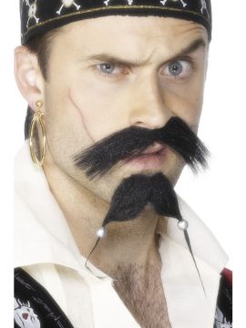 Pirate Tash and Beard For Sale - Pirate Tash and Beard Set, Black, With Beads | The Costume Corner Fancy Dress Super Store