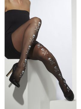 Pirate Tights For Sale - Pirate Tights, Black, With Skull and Bones | The Costume Corner Fancy Dress Super Store