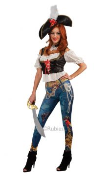 Pirate Booty For Sale - If ever a pirate had a tale to tell, this deck hand could write a book! One look at this lady pirate's rigging will conjure all sorts of adventures. Where did those pearls come... | The Costume Corner Fancy Dress Super Store