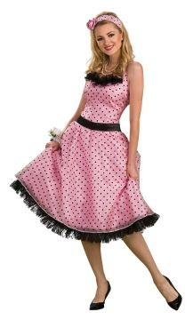 Polka Dot Prom For Sale - Dress, Headband & Waist sash | The Costume Corner Fancy Dress Super Store
