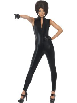 90s Icon - Posh For Sale - Posh Power, 1990's Icon Costume, Black, Catsuit and Gloves | The Costume Corner Fancy Dress Super Store