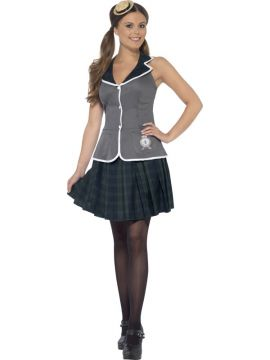Prefect Costume For Sale - Includes Top, Pleated Skirt and Mini Boater Hat    | The Costume Corner Fancy Dress Super Store