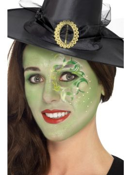Pretty Witch Make Up Kit For Sale - Includes Face Paints, Tattoo, Gem Stickers, Lipstick, Glitter Gel, Crayon & Applicators | The Costume Corner Fancy Dress Super Store