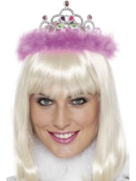 Jewelled Tiara For Sale - Jewelled Flashing Tiara, Silver, With Pink Marabou Trim | The Costume Corner Fancy Dress Super Store