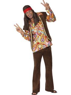 Psychedelic Hippy For Sale - Psychedelic 1960s Hippy Costume, with Shirt, Trousers and Waistcoat | The Costume Corner Fancy Dress Super Store
