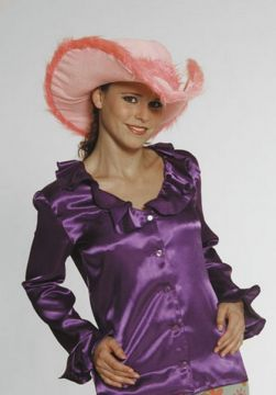 Ruffle Shirt For Sale - Purple satin Ruffle Shirt