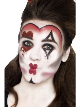 Queen of Hearts Make-Up For Sale - Includes Face Paints, Face Tattoo, Gem Stickers, Crayon and Applicators | The Costume Corner Fancy Dress Super Store