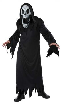 Reaper with Elongated face For Sale - Black robe, long mask with black hood | The Costume Corner Fancy Dress Super Store