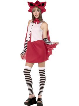 Little Red Riding Hood For Sale - Teen Rebel Toons Red Riding Hood Costume. Who says Little Red can't be edgy? Includes red dress with white bodice, red cape with anime style wolf hood, black and white leggings... | The Costume Corner Fancy Dress Super Store