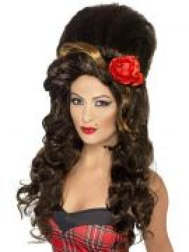 Wig - Rehab - Brown For Sale - Rehab Wig, Brown, Large Beehive. Amy Winehouse style.  | The Costume Corner Fancy Dress Super Store
